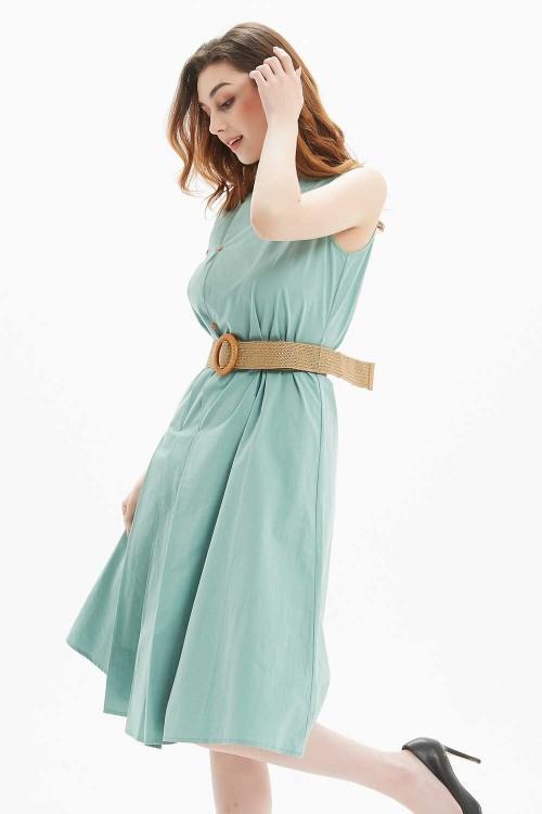 فستان نسائي لون اخضر بدون اكمام
