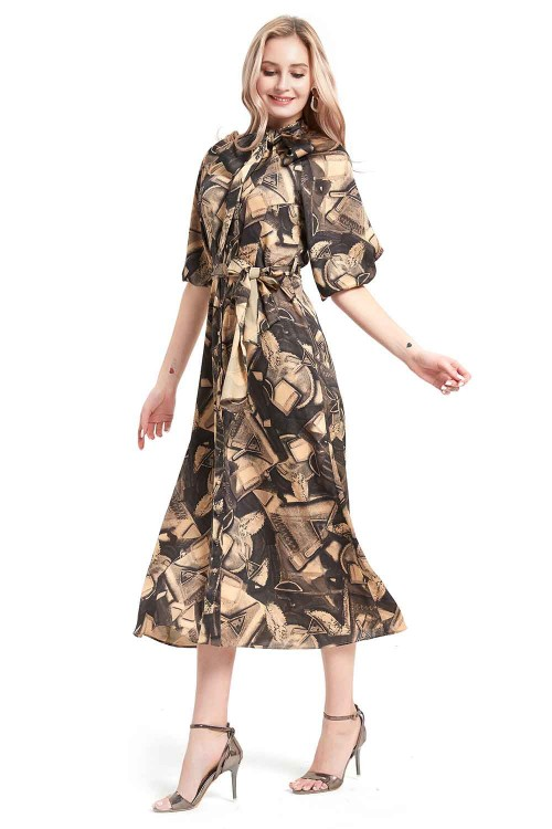 فستان نسائي متوسط اسود وبيج