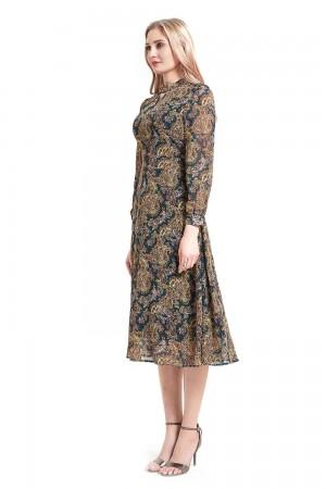 فستان نسائي كحلي منقوش