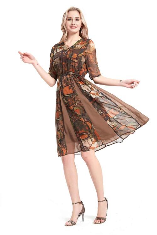 فستان نسائي شيفون بني