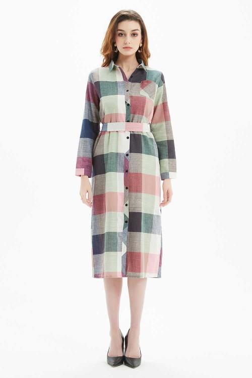 فستان نسائي اخضر مربعات