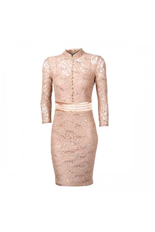 فستان نسائي مخرم من الدانتيل، ذهبي، كم طويل، من ريفرز وورلد