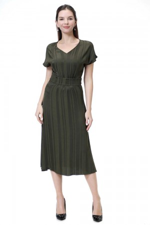 فستان نسائي اخضر زيتي