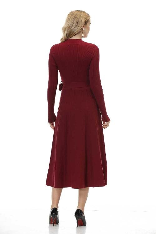 فستان نسائي متوسط قطن خمري