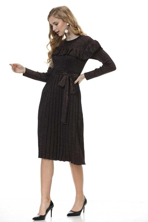 فستان نسائي متوسط قطن خمري غامق