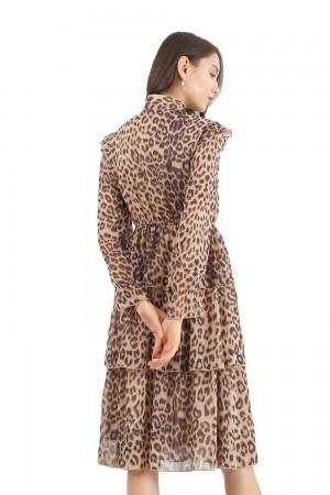 فستان نسائي قصير اصفر كم طويل