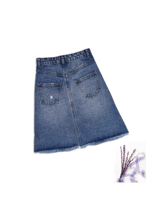 تنورة جينز بنات ازرق