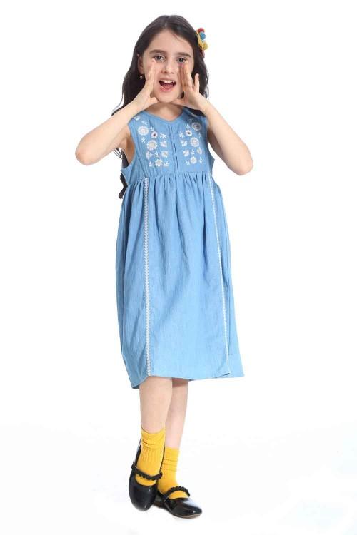 فستان جينز بناتي قطن ارزق
