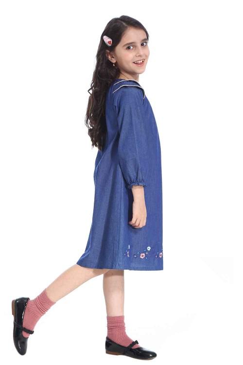 فستان جينز بناتي لون ازرق