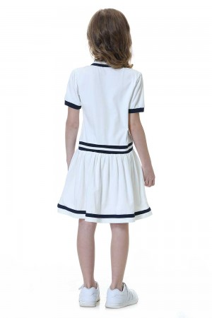 فستان بولو بناتي لون ابيض