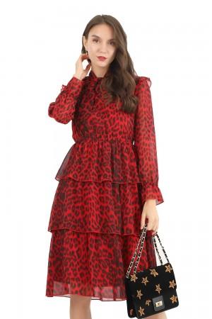 فستان نسائي قصير احمر كم طويل