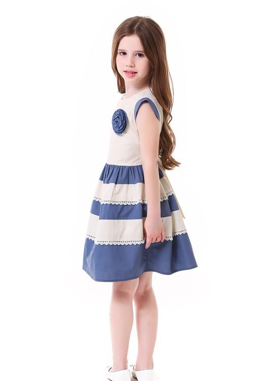 فستان بناتي لون كحلي ومشمشي