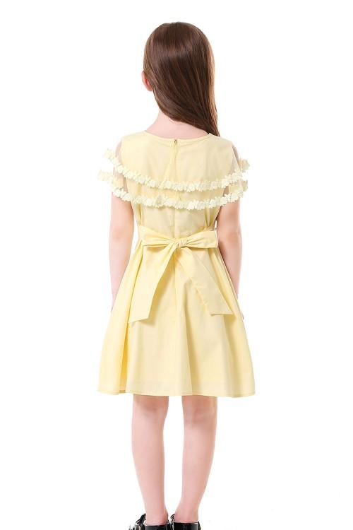 فستان بناتي اصفر فاتح