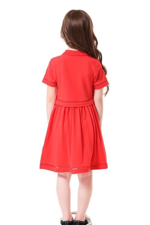 فستان بولو بناتي احمر