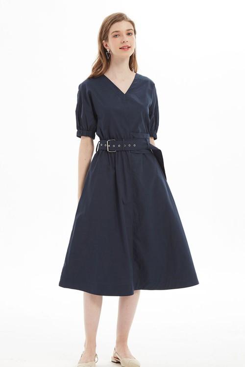 فستان نسائي كحلي بحزام