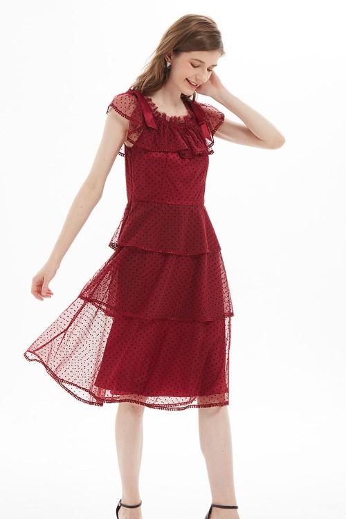 فستان نسائي لون خمري
